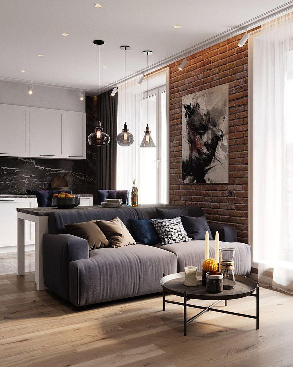 Între cele două ferestre ale zonei de zi peretele a fost personalizat cu cărămidă aparentă, care aduce un plus de textură și culoare în ambient.