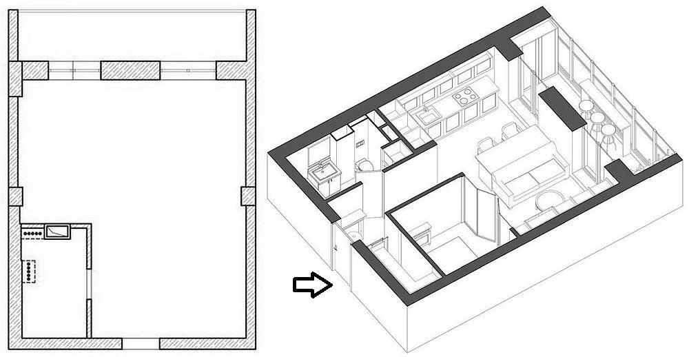 În stânga planul locuinței înainte de amenajare, în dreapta compartimentarea gândită de către designeri. Balconul a fost păstrat ca atare și transformat într-un spațiu de relaxare și depozitare pentru că oricum pereții fac parte din fațada blocului și nu puteau fi desființați. În cadrul camerei mari la intrarea în locuință în dreapta a fost configurat un dressing, apoi un loc de dormitor separat cu tâmplărie care lasă lumina naturală să pătrundă la interior. În rest, în afara camerei de baie, zona de zi cuprinde bucătăria deschisă și zona de living.