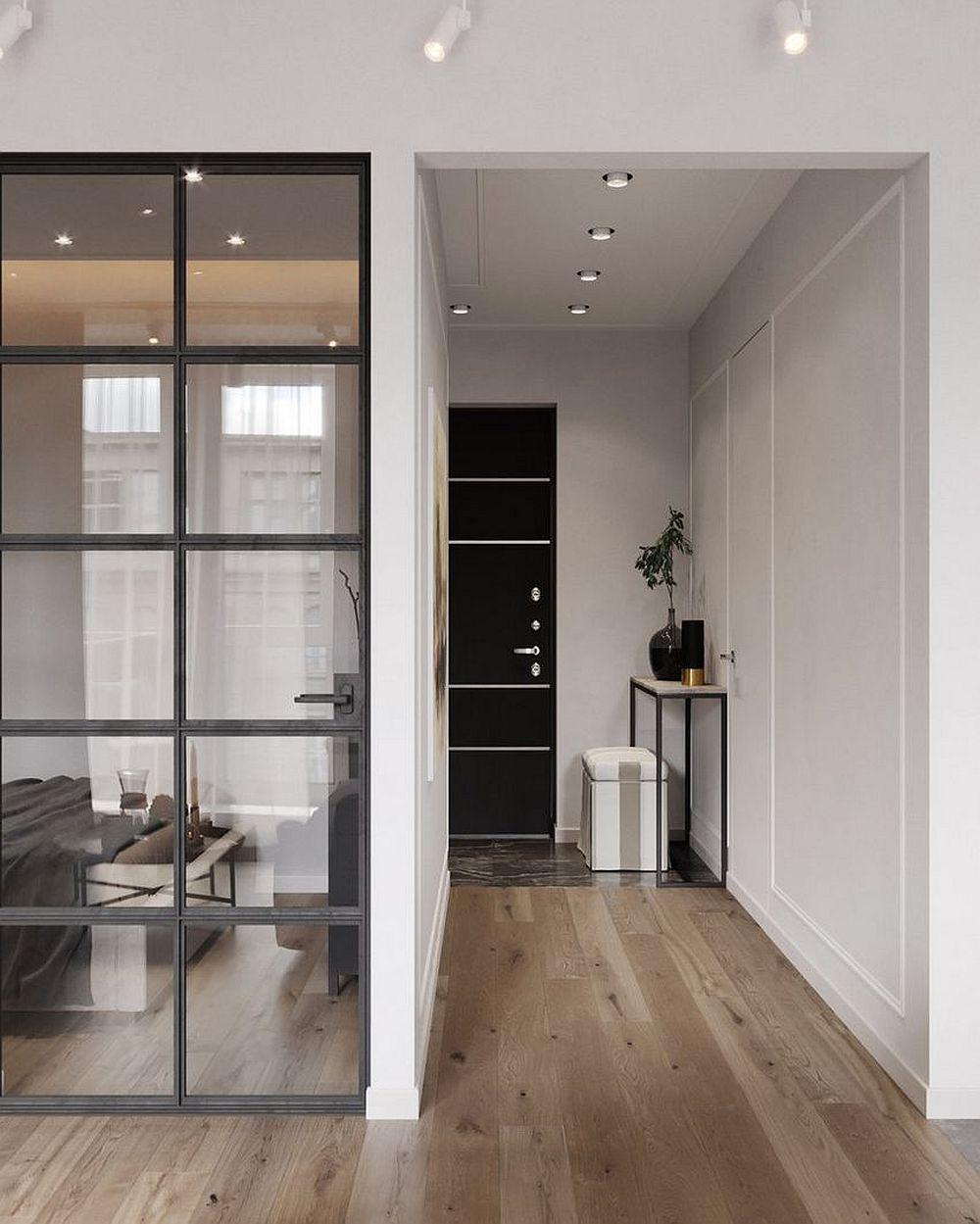 În cadrul camerei a fost separat locul pentru dormit cu un perete fals către hol și dressing, dar cu tâmplărie către restul camerei. Astfel lumina naturală pătrunde și în locul destinat odihnei.