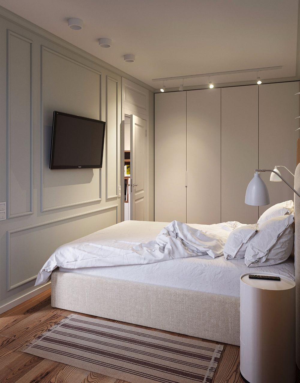 Pentru că tinerii și-au dorit televizor în dormitor, arhitecții au prevăzut încă din faza de proiect prizele pentru acesta astfel încât odată suspendat pe perete cablurile să nu fie la vedere.