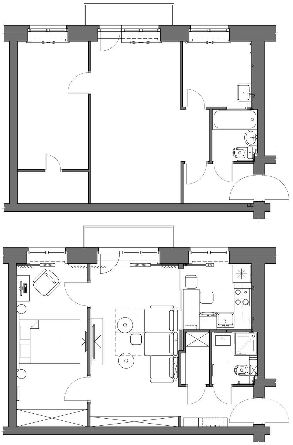Cum au procedat arhitecții pentru reorganizarea apartamentului situat într-un bloc u structură portantă, adică ziduri de cărămidă? Încă din holul de la intrare au desființat ușa de acces către living.