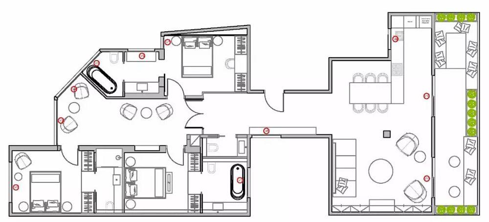 Apartamentul are o suprafață de circa 140 de metri pătrați și este împărțit în două zone distincte: cea de zi (dreapta) și cea de noapte (stânga).