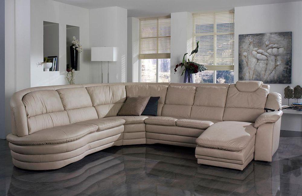 """Colțar """"Rom"""" cu tapițerie din piele Longlife Kiesel. L 313 x 374 x 167 A 101. H 96 cm. Include funcţie pat. Suprafaţă de dormit: 155 x 190 cm. Include sezlong cu funcţie relax, acţionabilă electric. Fabricat in Germania. Preț la cerere."""