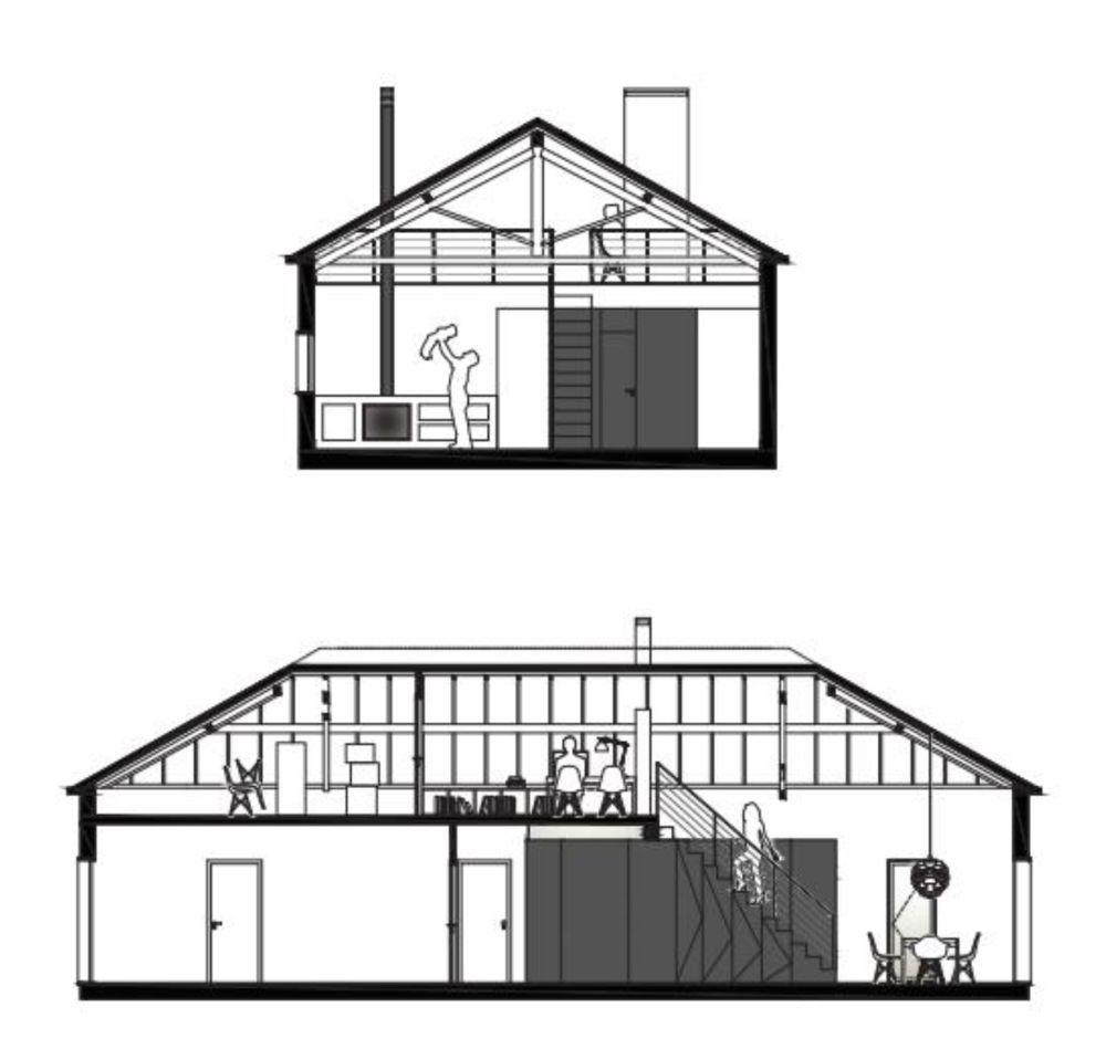 Secțiunile cu volumul din OSb inserat la interior, volum care adăpostește bucătăria, baia, spațiile de depozitare, scara interioară și zona de birou de deasupra.