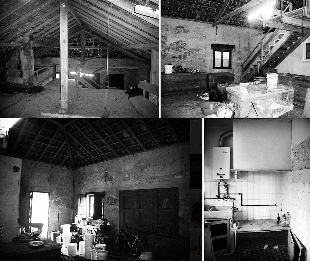 Așa arăta spațiul înainte de transformare. Parțial era casă, parțial era hambar, dar stare era deplorabilă. Se poate observa că spațiul era insuficient iluminat natural, dar structura acoperișului părea ofertantă.