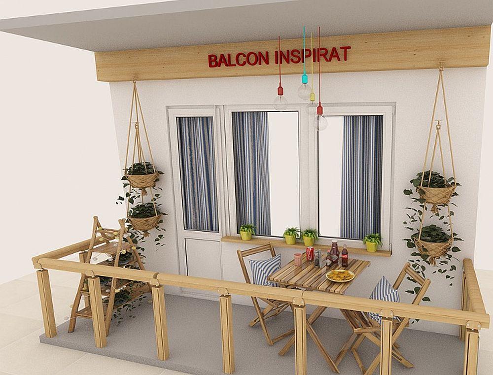 Senzația de natură o poți imprima nu doar prin prezența plantelor, ci și printr-un mobilier de exterior din lemn. Materialele naturale conferă căldură oricărui spațiu, chiar și atunci când e vorba despre balcon. Poți asorta pernele pentru scaune cu draperiile de la interiorul camerei, dar pentru un plus de culoare și textură ghivecele cu plante pot fi așezate în măști colorate, portghivece. Pe pereții balconului poți suspenda suporturi cu aspect natural pentru a crea senzația de simetrie, care ordonează spațiul, iar iluminatul îl poți asigura cu mai multe suspensii simple colorate, care pot fi alimentate și pe bază de baterii. Pe pardoseală poți așeza suporturi în formă de scară, unde poți depozita atât plante, cât și mici obiecte pe care le dorești la îndemână.