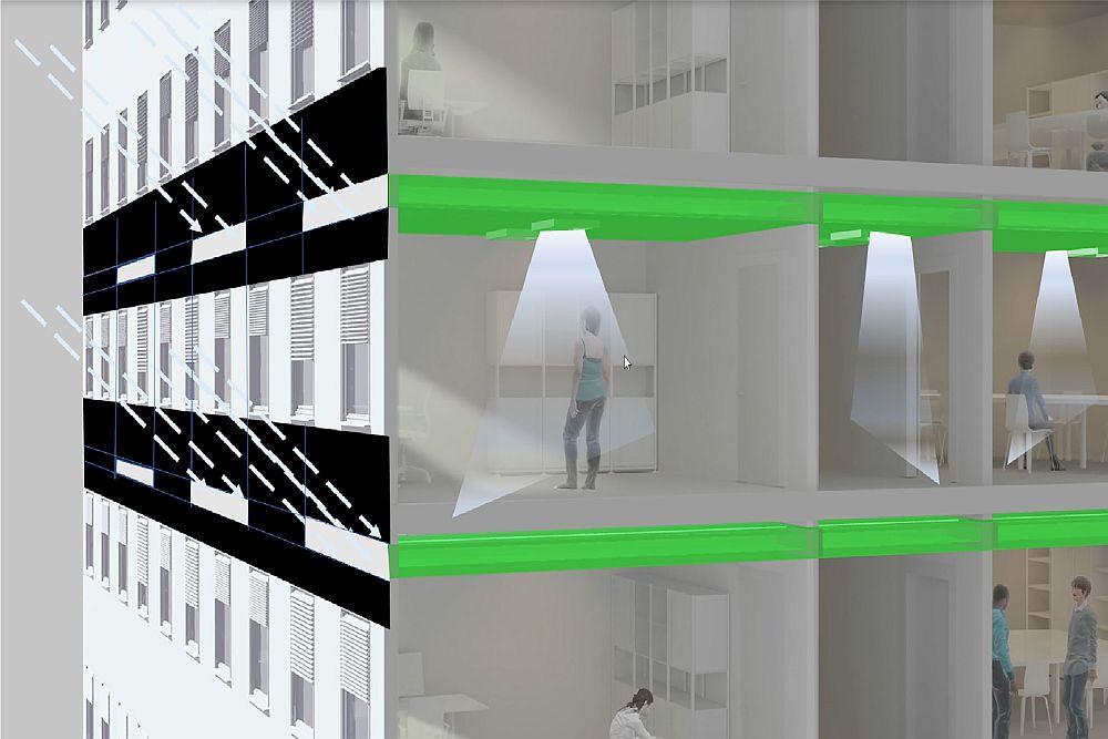 Sistemul de iluminat HCL (Human Centric Lightning – Iluminat Humano-Centric) se bazează pe principiul ghidării luminii și cuprinde trei componente: un film (o peliculă), un luminator și corpuri de iluminat. Pelicula este încorporată într-un geam izolat și ghidează în mod optim lumina naturală printr-o fantă (un luminator), care conține film reflectorizant. Pasajul aduce lumina soarelui adânc în interiorul unei clădiri, apoi corpurile de iluminat reflectă lumina zilei în încăperi. Aceste corpuri de iluminat sunt, de asemenea, echipate cu lămpi cu LED-uri care oferă lumină în încăperi, atunci când lumina naturală este indisponibilă sau insuficientă.
