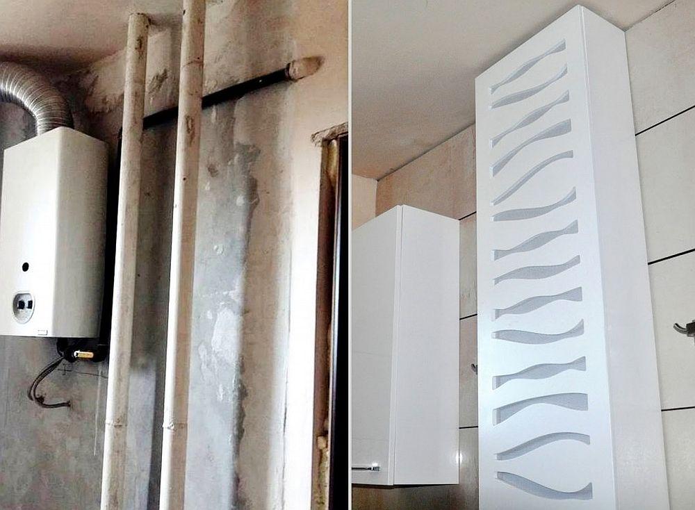 Mască pentru țevi care se găsește în oferta SoldShop. Imagine înainte și după reamenajarea zonei din bucătărie unde se află centrala termică.