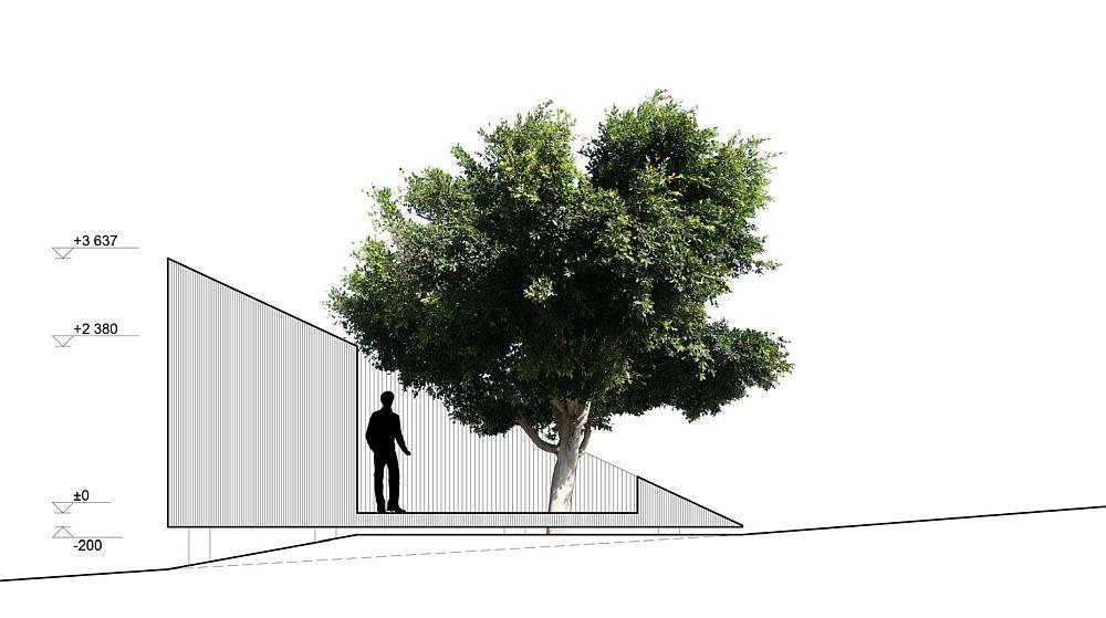 Fațada laterală cu acces pe terasă și către interior.