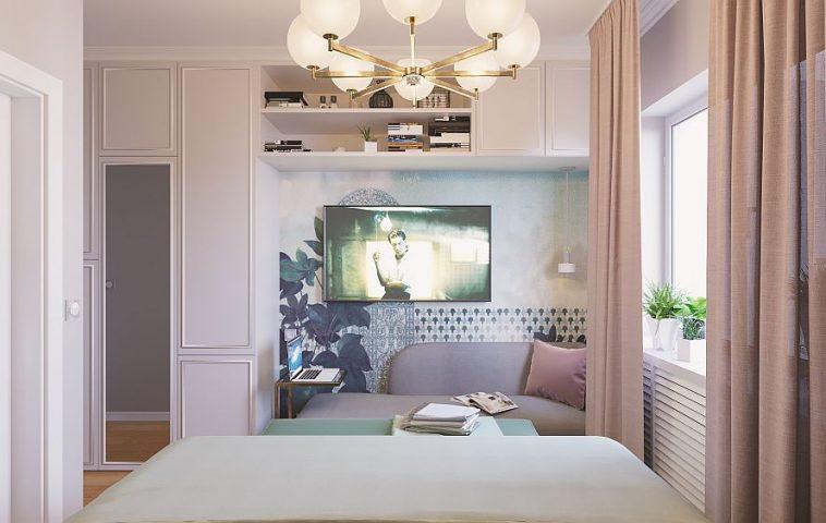 În dormitor, zona de tv poate fi și un loc mai retras și plăcut de lucru.
