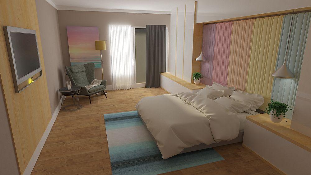 În colțul dormitorului poate fi amenajat un colț de lectură, de meditație sau pur și simplu de regăsire.