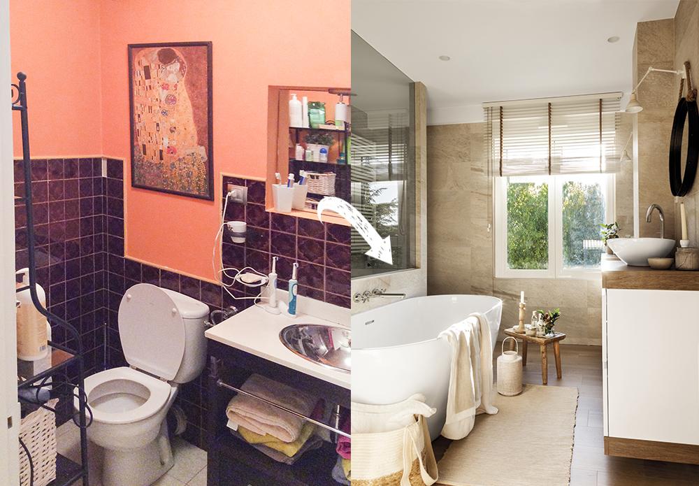 Baia îniante și după renovare. Spațiul camerei de baie a fost amenajat practic în al treilea dormitor. Asta pentru ca baia să devină un adevărat spa. Nu doar loc de cadă, ci separat și loc de duș în spatele ei.