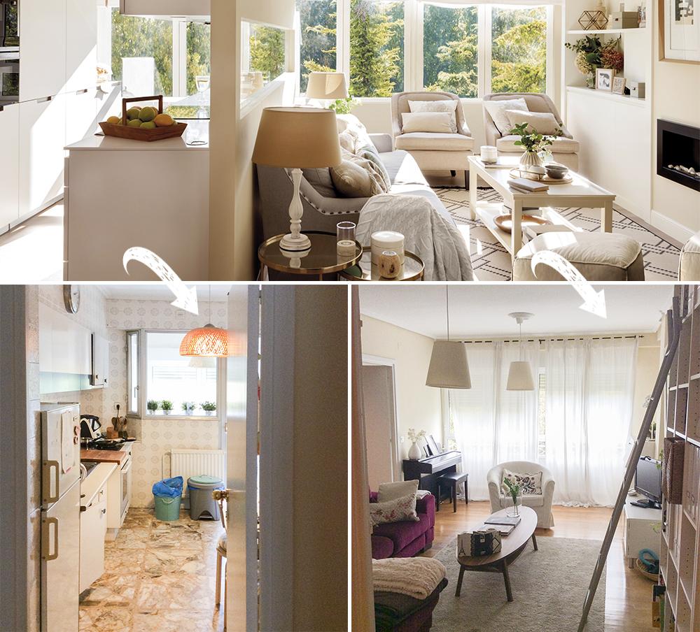 Inițial bucătăria era separată față de living, iar accesul la bucătărie se făcea din zona de zi. Acum, după renovare cele două spații comunică parțial, designerul concentrându-se pe lumina naturală care să pătrundă din plin peste tot, inclusiv către centrul locuinței.