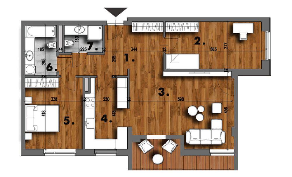Când au achiziționat apartamentul el era organizat cum se vede în plan. Holul (1) măsura circa 13,39 mp, mai mult decât bucătăria (4) care avea 10,21 mp. Dormitoarele au fost păstrate ca atare (2) cu suprafașa 15,64 mp și (5) cu 14,31 mp, iar livingul cu locul de luat masa a suferit mici modificări în suprafața de 27,33 mp. Baia (6) cu suprafața de 5,41 metri pătrați a fost ușor mărită către a doua baie (7) care avea 3,63 mp, dar care a fost micșorată.