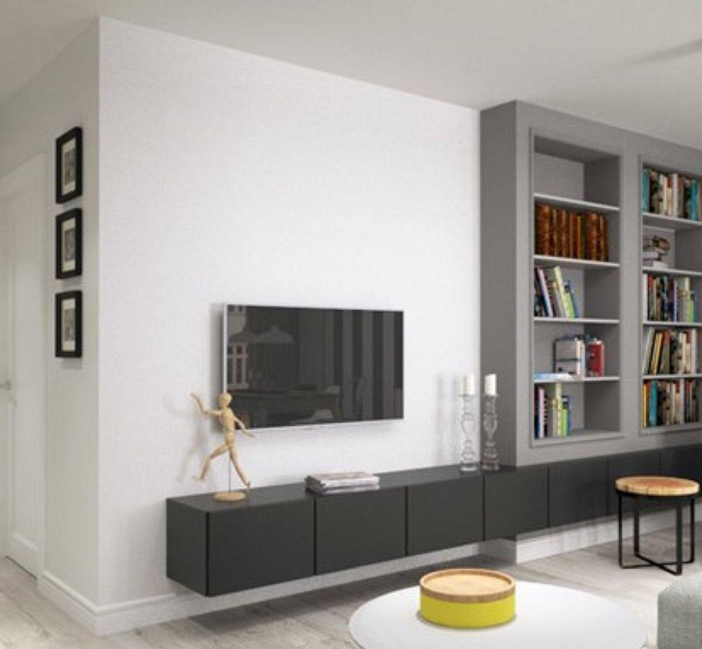 Imagine 3D cu locul de tv și bibliotecă așa cum a fost gândit în faza de proiect.