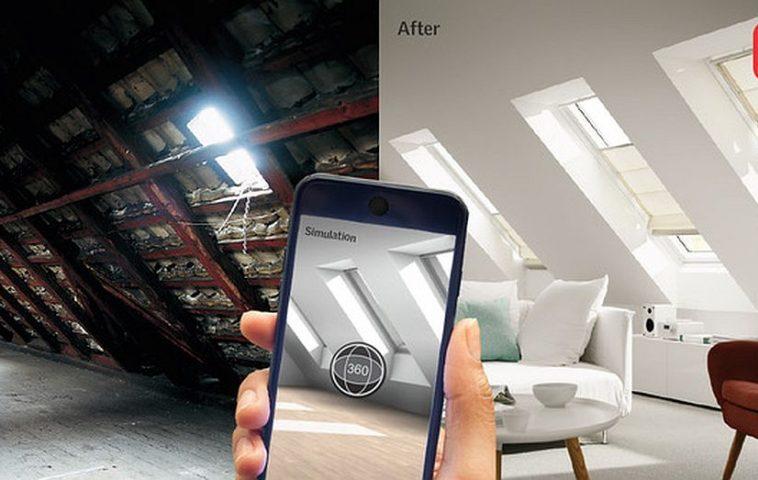 Aplicația MyDaylight de la VELUX prin care-ți poți face singur proiectul mansardei se poate descărca gratuit din Google Play și AppStore.