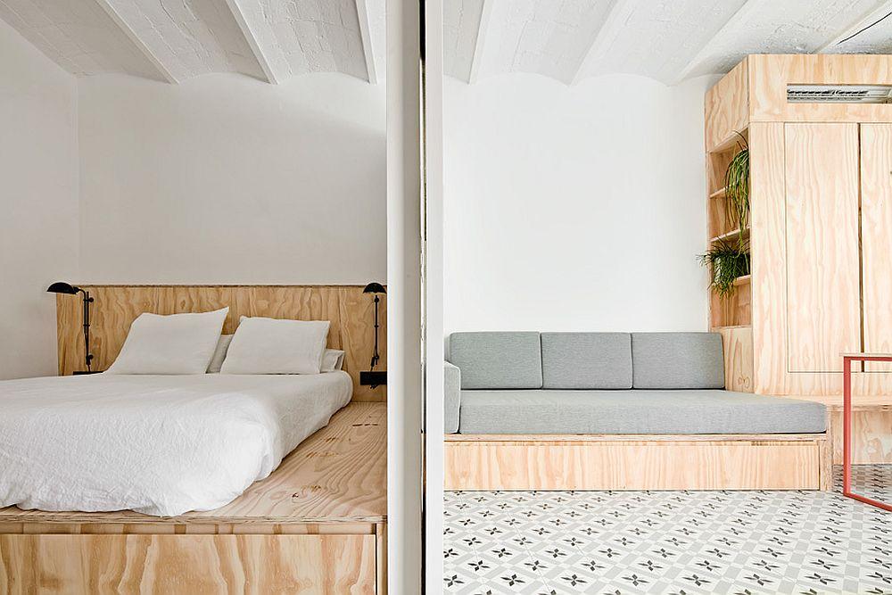 Între zona de zi și cea de noapte separarea s-a făcut cu ajutorul unor uși culisante. O parte din structură este fixă pentru a permite uneia dintre uși să culiseze pentru acces în dormitor.
