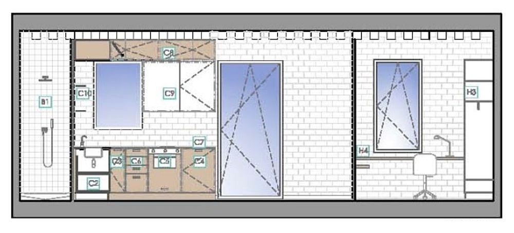 Plansă cu mobilarea pe partea cu ferestrele. Se poate observa faptul că designerii au gândit mobilarea și în raport cu ferestrele, dar și cu forma plafonului. De regulă specialiștii iau în calcul proporțiile spațiului, desigur și prezența golurilor (uși, ferestre) pentru ca restul volumelor, cum e mobilierul, să fie armonizate în ansamblu. Aceste detalii contează în percepția finală a garsonierei, care nu doar pare, ci este ordonată.