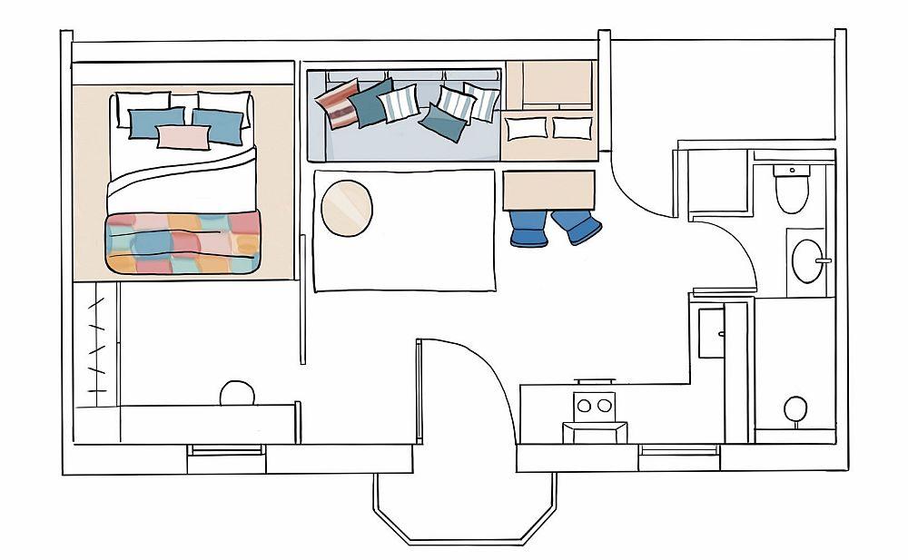 Așa arată planul garsonierei după adaptarea soluțiilor de mobilare.