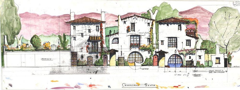 Planșă desenată de arhitectul Jeff Shelton cu complexul rezistențial Cota Street Studios