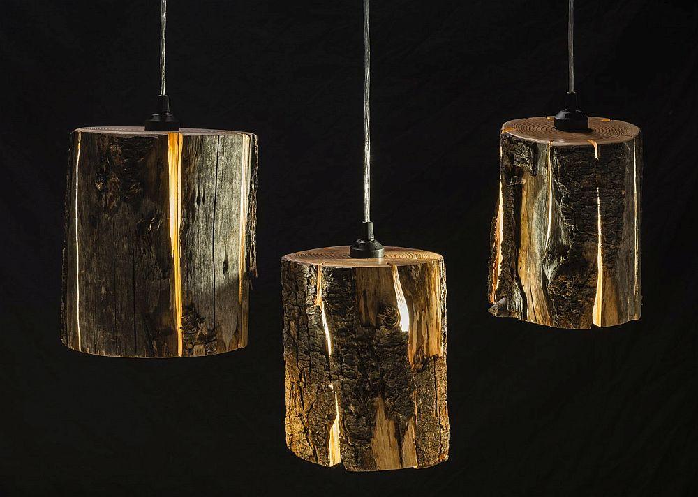 adelaparvu.com despre lampi din busteni, Cracked Log Lamps, designer Duncan Meerding (2)