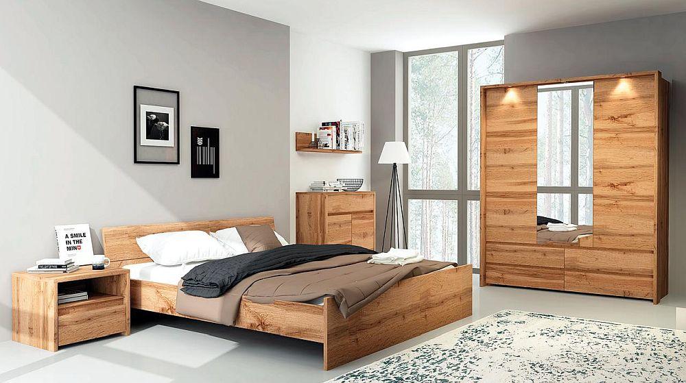 Dormitor Tahoe cu finisaj aspect lemn. Vezi număr piese, dimensiuni, finisaje, preț AICI.
