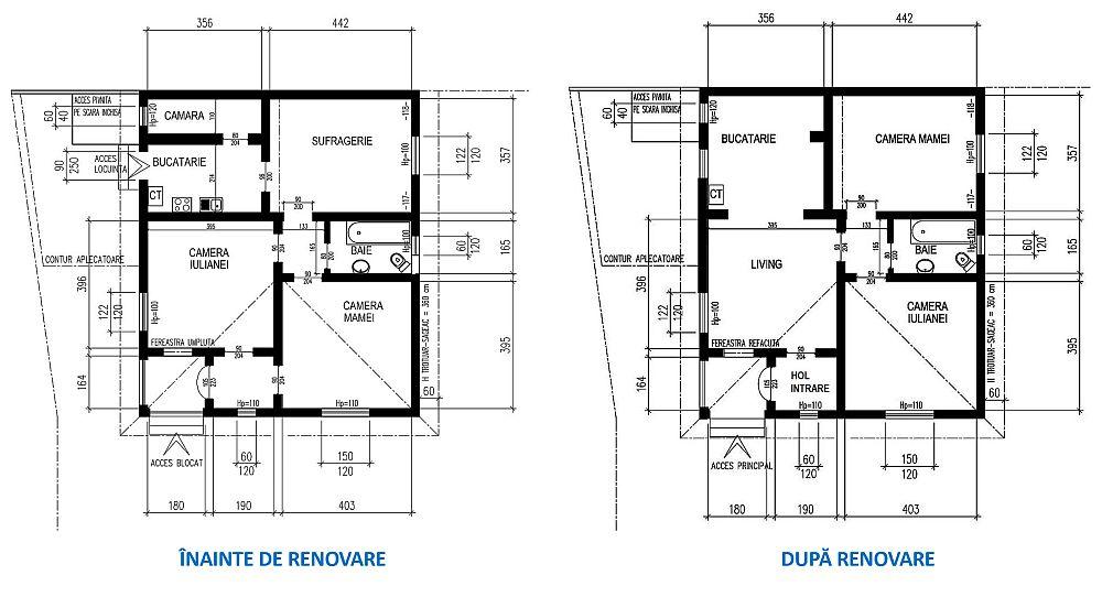 Ce modificări s-au adus casei? În primul rând colegul nostru arhitectul Ciprian Vlaicu a prevăzut ca fosta intrare principală pe care noi am găsit-o blocată, să redevină funcțională, după ce și aleile din curte au fost refăcute pentru a-i fi mai ușor Iuliei să circule pe ele. Apoi, în funcție de intrarea principală (cea secundară fiind zidită), s-a restabilit destinația holului de la intrare, dar ușa către dormitor a fost închisă. Din hol se deschide acum către interior o singură ușă ce dă în living. Camera de zi este acum deschisă către bucătărie. Bucătăria la rândul ei a fost extinsă către spațiul cămării. Din living se accede către un sas (hol mic) din care se deschid dormitoarele și baia. Practic, toată organizarea casei a vizat o claritate în privința funcțiunilor: pe partea stângă sunt grupate funcțiunile de zi, iar pe partea dreapta sunt cele de noapte.