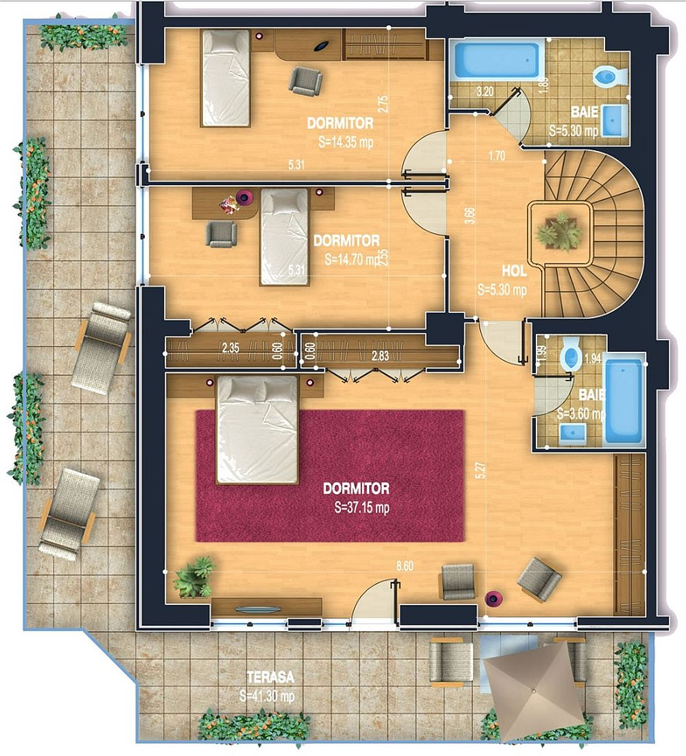 Al doilea nivel al penthouse-ului este rezervat zonei de noapte