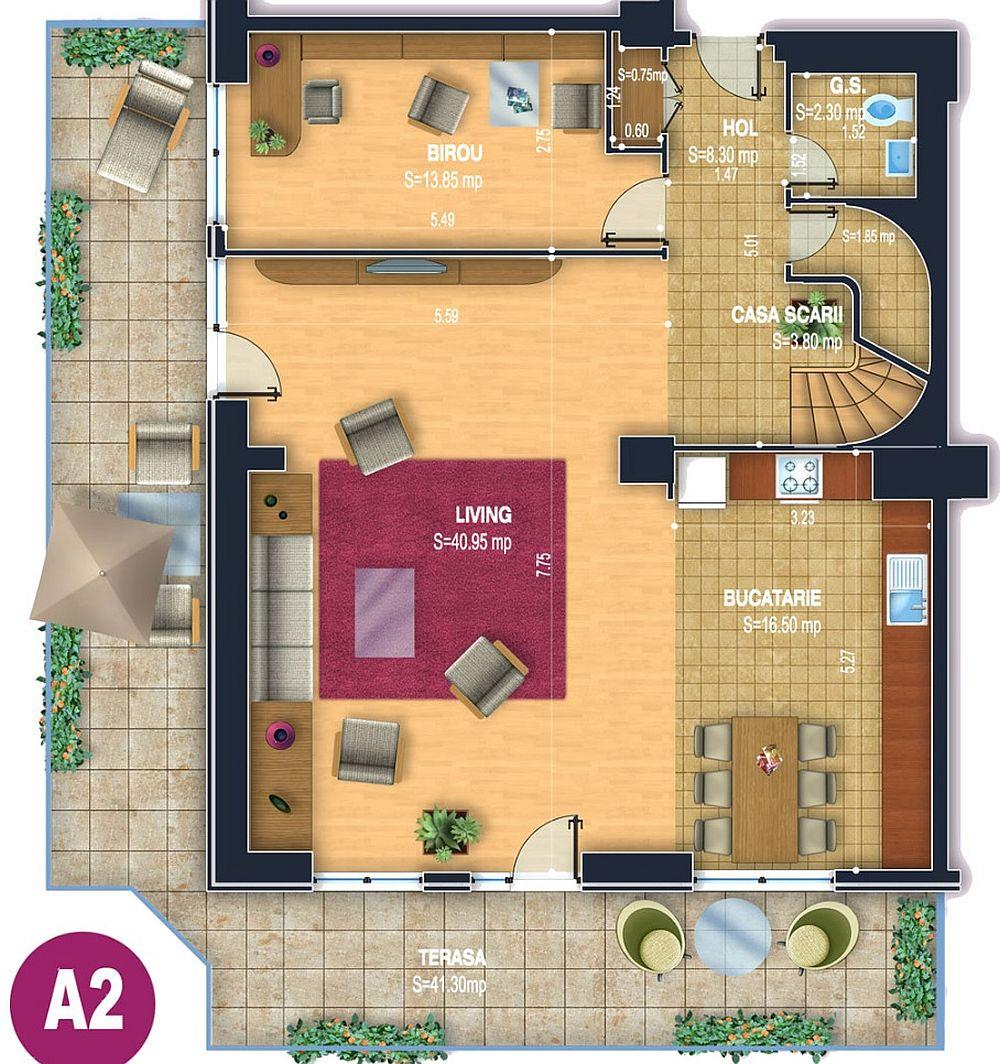 Planul primului nivel al pentahouse-ului are o suprafață totală de