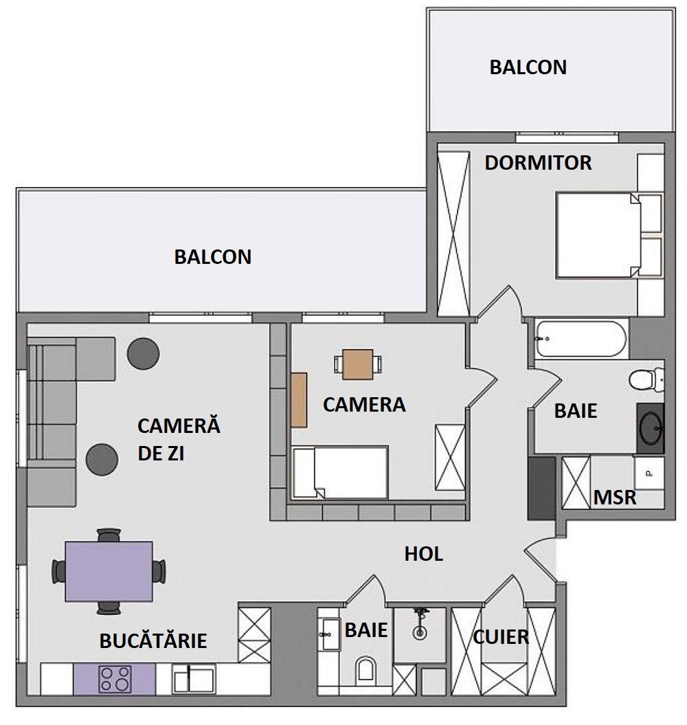 Cum a fost reorganizată locuința? Spațiul camerei pentru copil a fost reconstruit. Practic au fost desființați pereții, apartamentul fiind cumpărat încă din stadiul de gri, și repoziționați, astfel încât dimensiunile de la interiorul camerei să fie mai mari, iar în exteriorul camerei să poată fi realizate multe dulapuri. De asemenea, holurile nu mai sunt separate cu uși, ci deschise între ele, unul comunicând direct cu zona de zi.