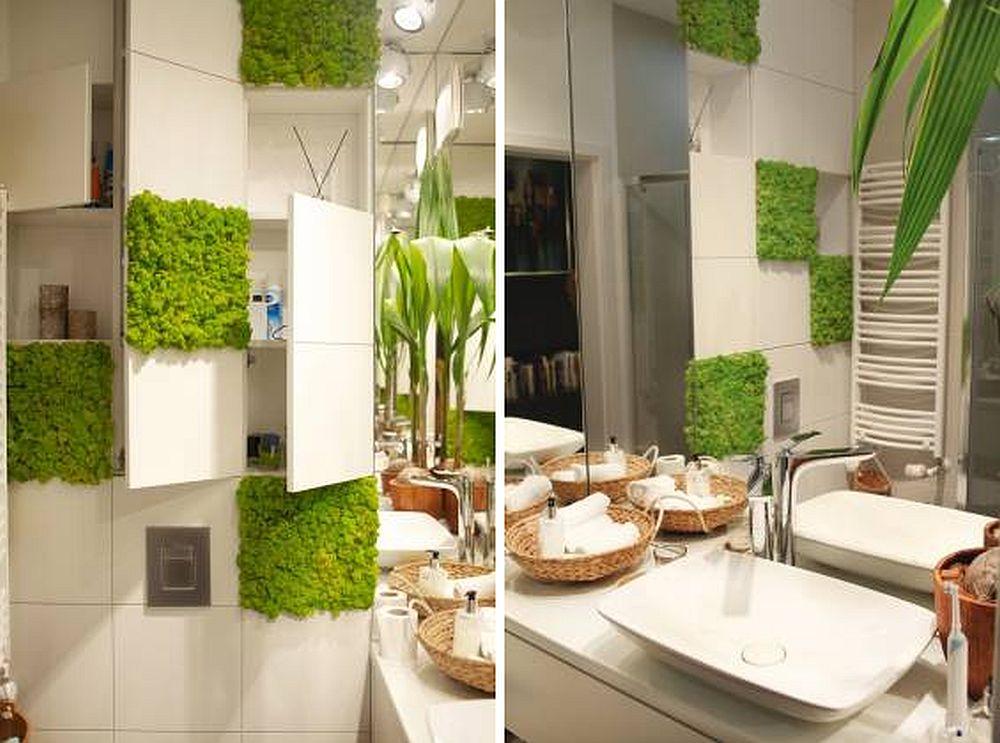 În spatele ansamblul de pătrate care sunt pe peretele cu vasul wc se ascund spații de depozitare. Ingenios, nu?