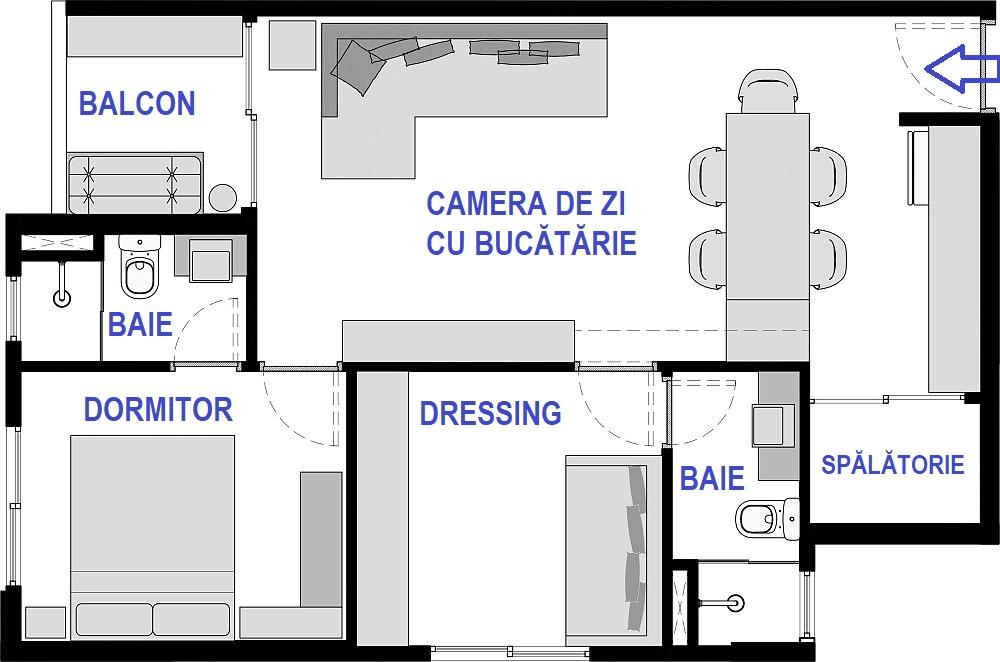 Planul locuinței nu a fost schimbat, ci lăsat ca atare. Arhitecții au avut însă în vedere ca prin mobilare să obțină tot confortul dorit de către clienta lor. Aceasta a avut două cereri speciale: o masă la care să poată sta mai multe persoane, pentru că are o familie numeroasă care vine în vizită, și de asemenea o cameră de oaspeți unde să poată găzdui temporar până la două persoane. Prima cerință a fost materializată printr-o masă suspendată, iar a doua prin gruparea dulapurilor de dressing în același spațiu cu o canapea extensibilă.