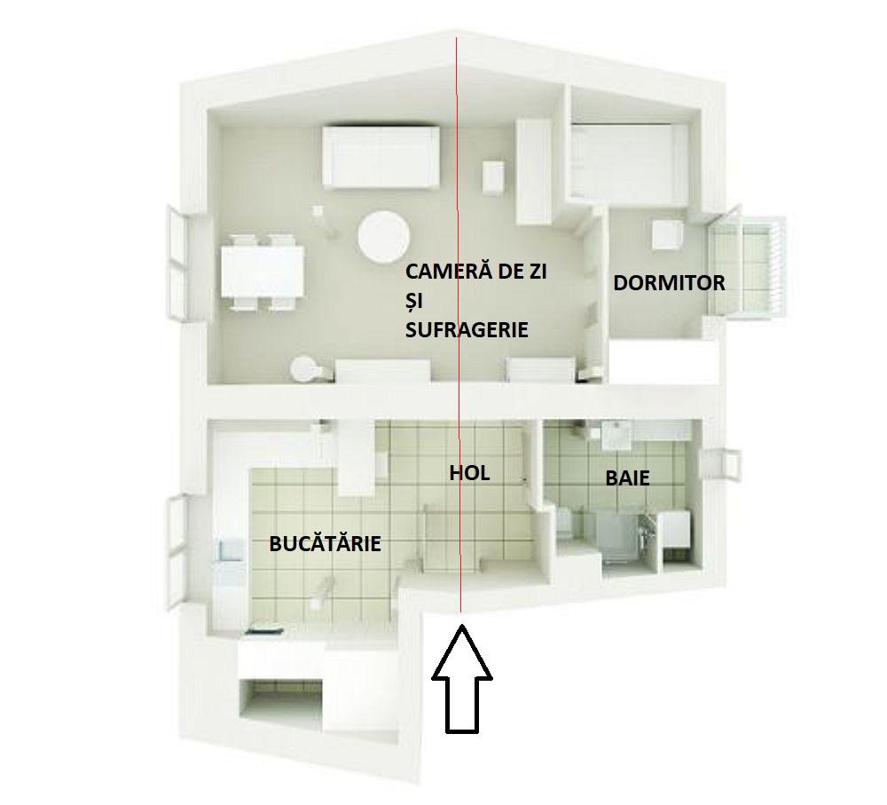 Centrul locuinței, către are sunt orientate și ușile de interior, este gândit ca zonă de circulație pentru că înplțimea este cea mai mare. Apoi, prima parte a locuinței care cuprinde bucătăria, holul de intrare și baia au pardoseala din gresie, iar a doua parte este cu parchet pentru living și dormitor.