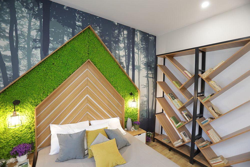 Tăblia patului este decorată cu licheni, iar peretele este decorat cu un tapet imprimat pe comandă. Mobila este realizată la sponsorul emisiunii Martplast, după proiectul lui Valentin Ionașcu.