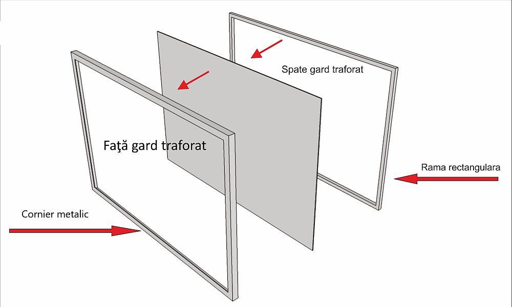 Schiță elemente fixare. Panourile traforate de la SoldShop se fixează în rame metalice, iar apoi ramele se prind de stâlpii gardului.