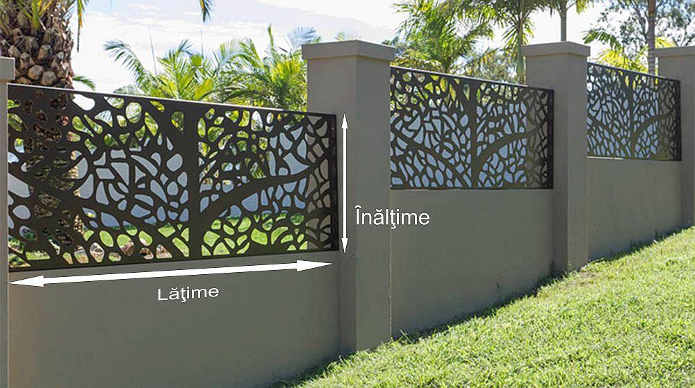 La un gard denumirile pentru o comandă corectă sunt lățime și înălțime, așa cum este specificat și în poza de mai sus.