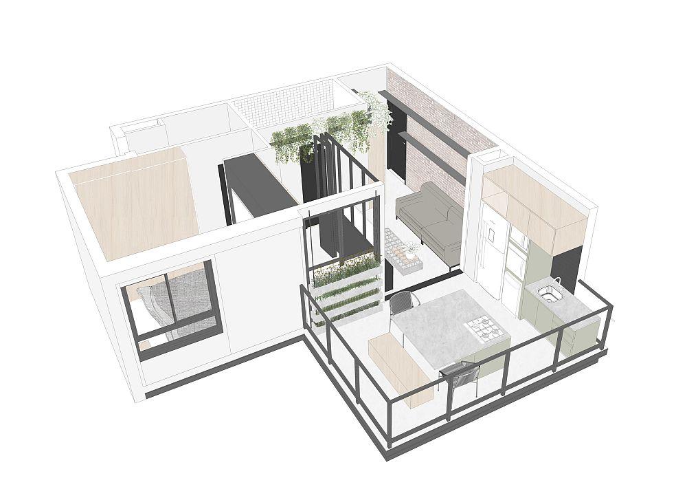 Locuința beneficia de un balcon generos, care a fost folosit de către arhitecți pentru a-l amenaja ca bucătărie și sufragerie, loc de luat masa în familie. În funcție de dispoziția ferestrelor a fost creată și a treia cameră, între dormitor și living, evident livingul fiind acum micșorat.
