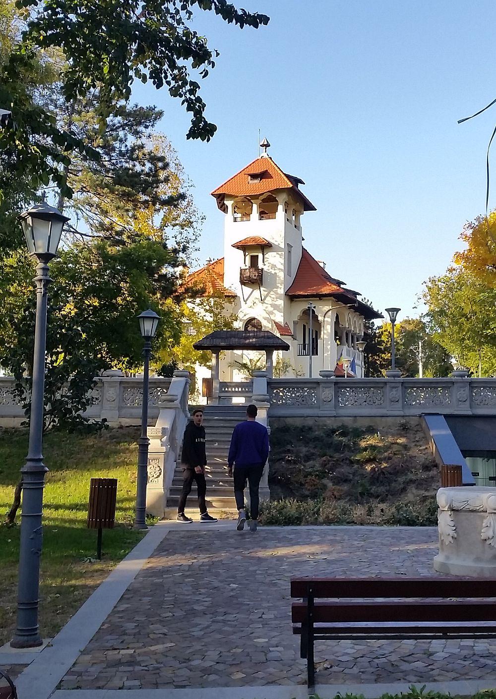 Gemenii mei Lucian și Ștefan au zăbovit îndelung în parcul Vilei Minovici unde au dat peste tot felul de lucrări în piatră.