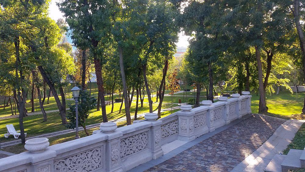 Vedere către parcul Vilei Minovici.