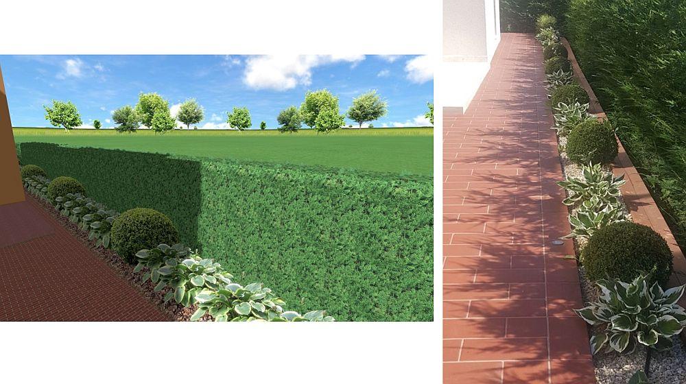 Zona verde pe lîngă trotuarul casei. În stânga faza de proiect cu vizualizare 3D, în dreapta imagine cu ce s-a finalizat în realitate.
