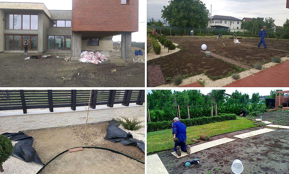 Etape din amenajarea grădinii - de la situația inițială a terenului și până la montarea rulourilor de gazon.