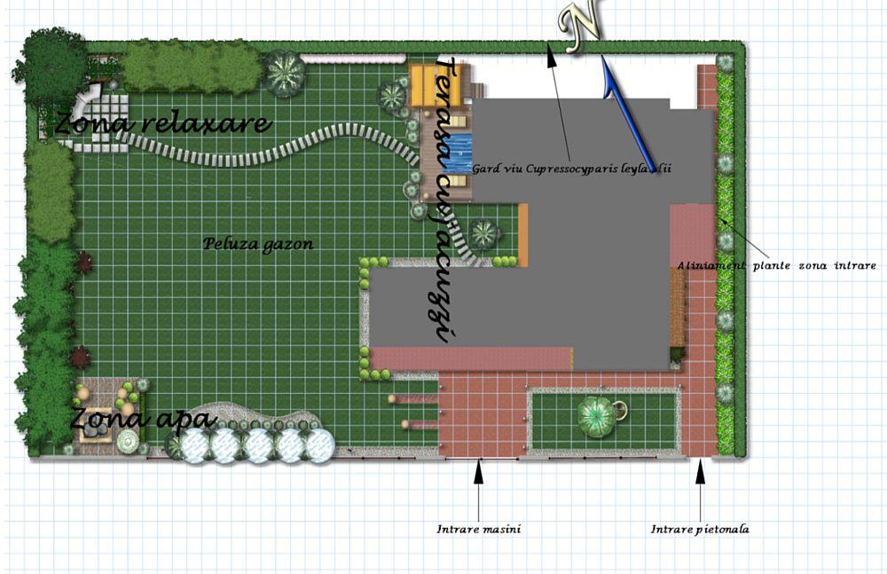 Casa cu suprafața la sol de circa 250 de metri pătrați este amplasată pe un teren cu suprafața de circa 1300 metri pătrați. Proprietarii și-au dorit neapărat o zonă amplă de peluză. După ce peisagistul a discutat cu ei și a fost la fața locului, le-a propus o grădină în acord cu arhitectura casei, adică o abordare contemporană, minimalistă. Mai sus vezi planul grădinii realizat după măsurătorile unui topometrist.