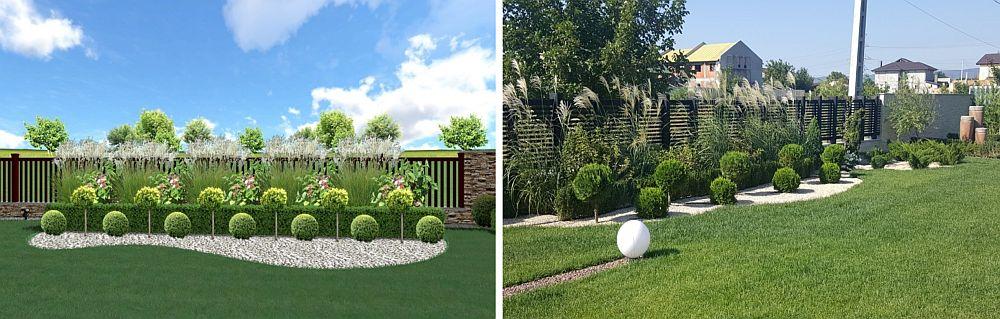 Zonă perimetrală reprezentaă în proiect (foto stânga) și finalizată (foto dreapta)