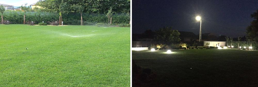 Trasarea instalațiilor nu se vede după ce gazonul este deja fixat, dar se simte pe timpul serii când instalația de iluminat funcționează, la fel și aspersoarele care irigă plantele.