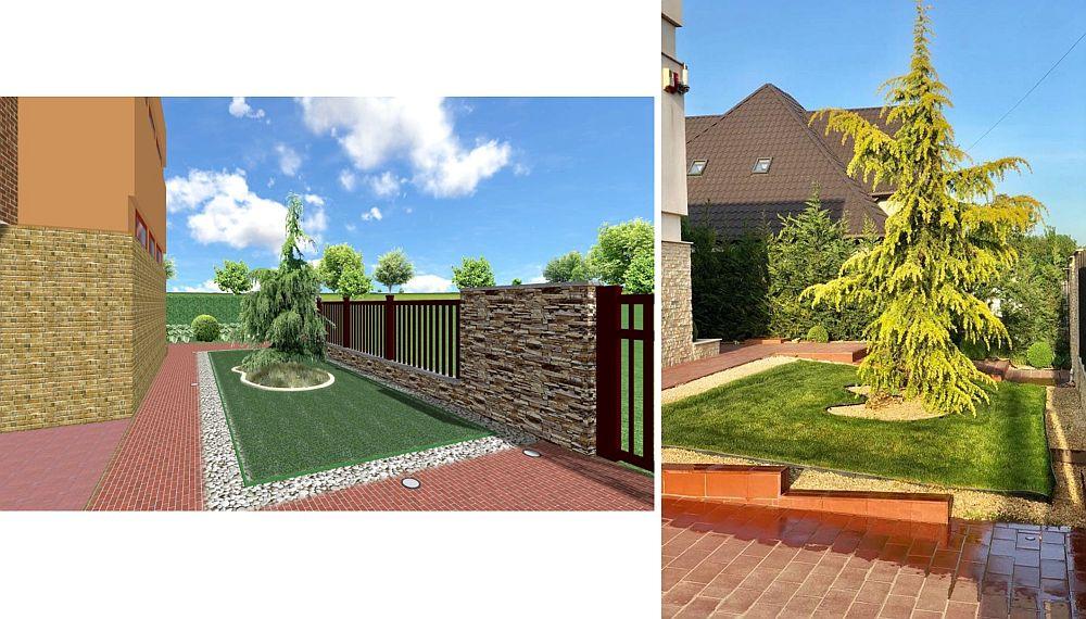 Zonă perimetrală. În stânga faza de proiect 3D, în dreapta imagine cu ce s-a pus în practică.