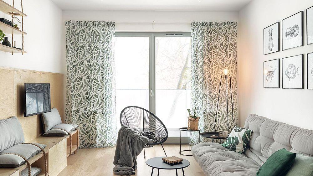 Apartamentul are două camere, cu bucătăria deschisă către living. Suprafața totală este de circa 50 mp, în care este cuprinsă și cea a terasei. Din living se accede pe balconul generos, marcat și printr-o suprafață mare vitrată.