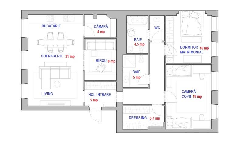 Locuința a rezultat din aplipirea unui apartament de trei camere cu o garsonieră.