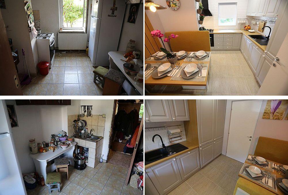 Bucătăria înainte și după renovarea făcută de către echipa Visuri la cheie.
