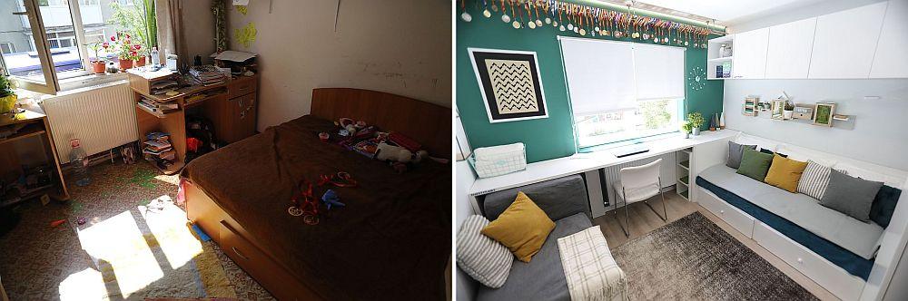 Camera lui Nicu și a fraților studenți înainte și după renovarea făcută de către echipa Visuri la cheie.