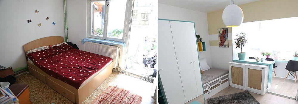 Camera fetelor mari înainte și după renovarea făcută de către echipa Visuri la cheie.